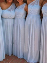 One Shoulder A-Line Ruched Long Bridesmaid Dress