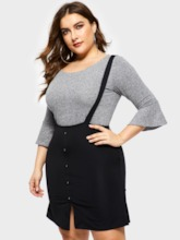 Date Night Plus Size Plain Pullover Women's Two Piece Sets