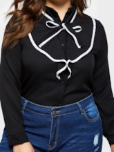 Slim Falbala Bowknot Plus Size Women's Shirt