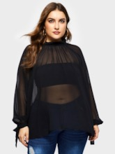 Plain Lantern Sleeve See-Through Plus Size Women's Blouse