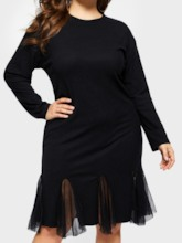 Plus Size Stand Collar A-Line Women's Long Sleeve Dress