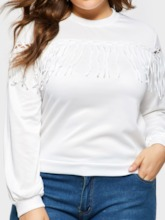 Tassel Hollow Plain Plus Size Women's Sweatshirt