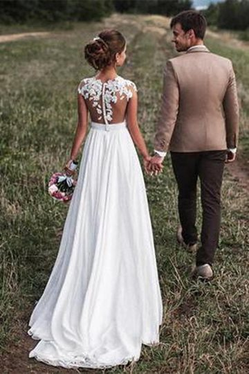 Sheer Neck Appliques Button Beach Wedding Dress Sheer Neck Appliques Button Beach Wedding Dress
