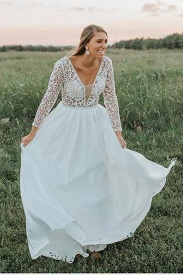 V-Neck Long Sleeves Lace Plus Size Wedding Dress V-Neck Long Sleeves Lace Plus Size Wedding Dress