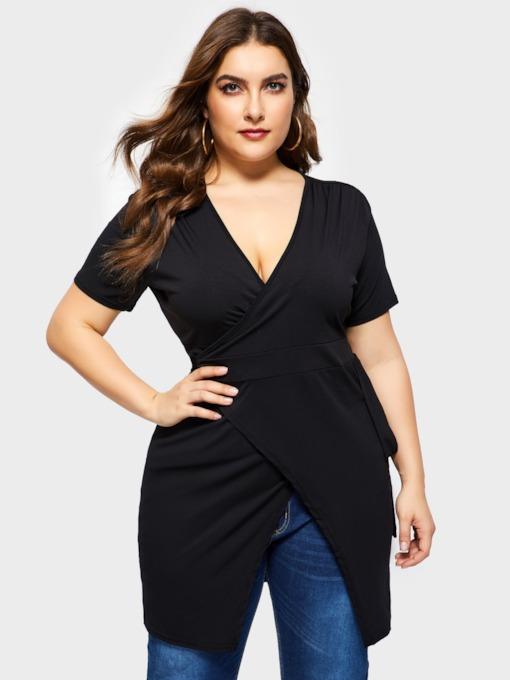 Plus Size V-Neck Short Sleeve Plain Women's Day Dress