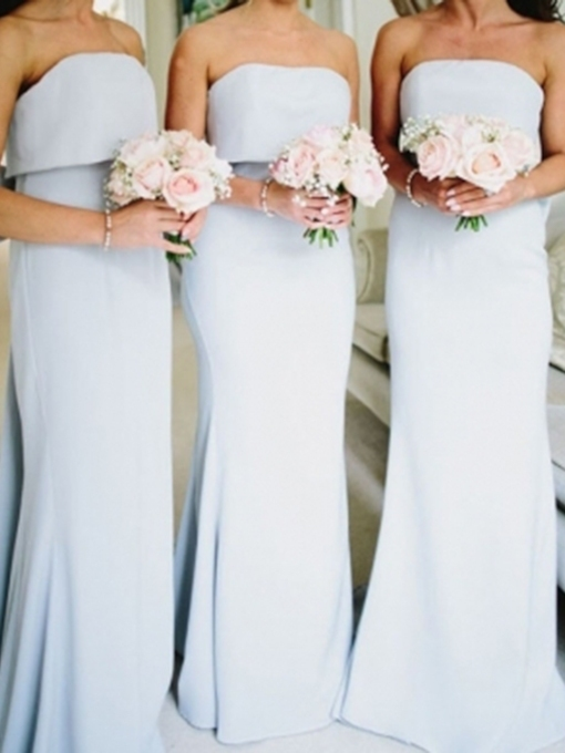 Sheath Strapless Bowknot Bridesmaid Dress