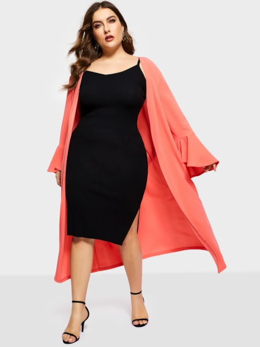 Plain Flare Sleeve Plus Size Women's Trench Coat