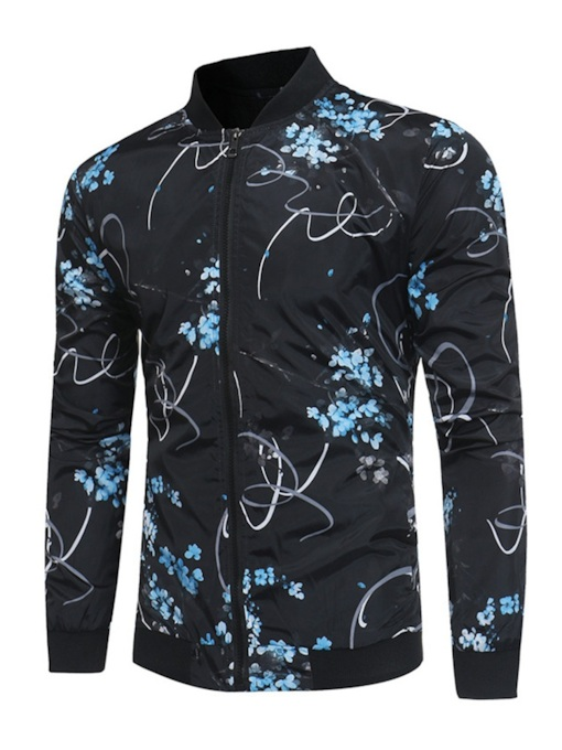 Slim Stand Collar Floral Print Men's Jacket