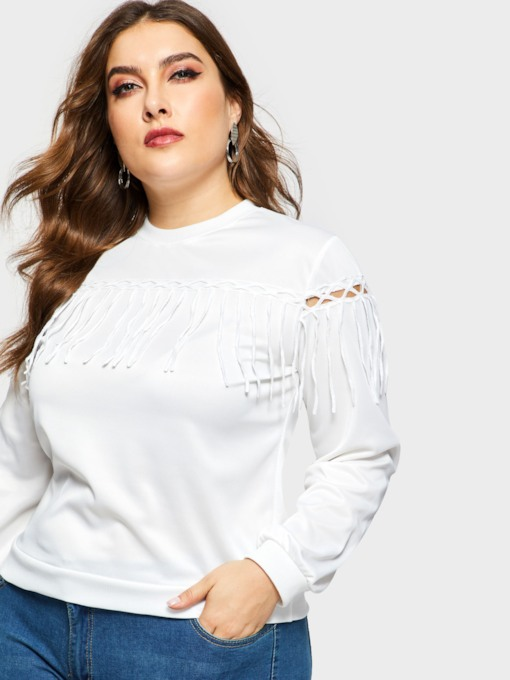 quaste hohl plain plus size frauen sweatshirt