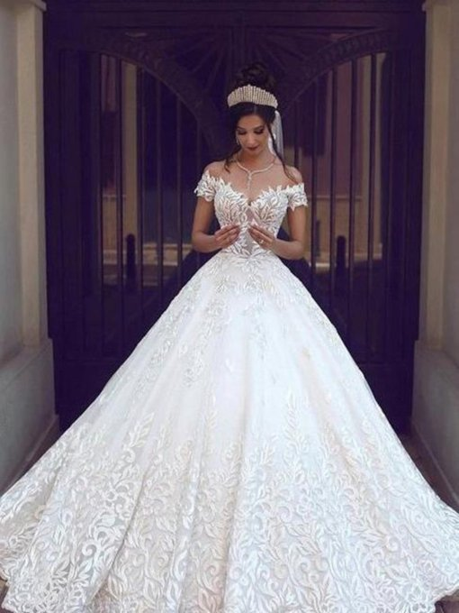 Off the Shoulder Short Sleeves Lace Ball Gown Wedding Dress