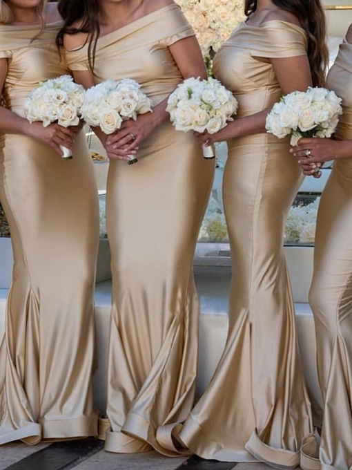 Off-The-Shoulder Short Sleeves Mermaid Bridesmaid Dress