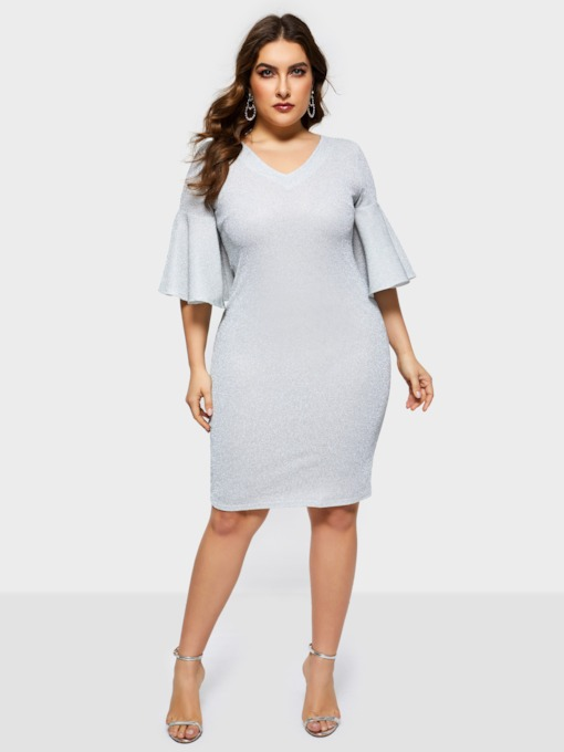 Half Sleeve V-Neck Flare Sleeve Plain Women's Day Dress