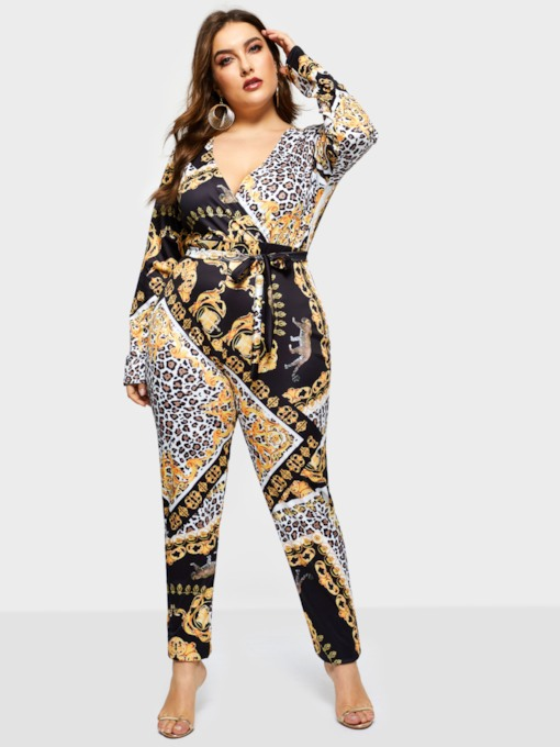 Plus Size Print Leopard Slim Women's Jumpsuit