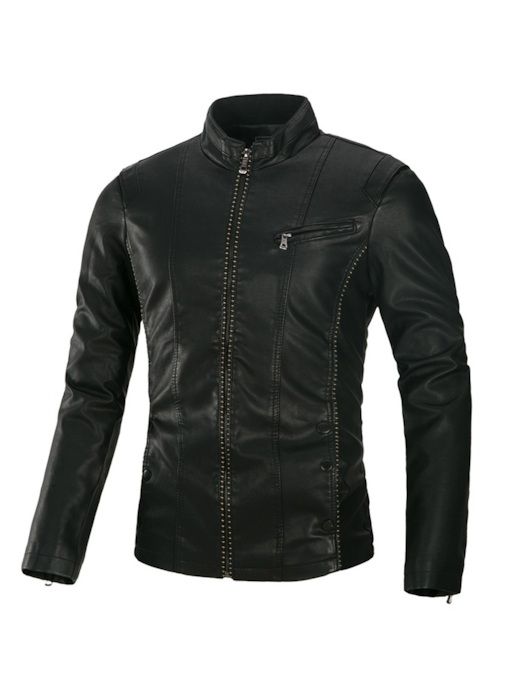 Slim Standard Stand Collar Plain Men's Leather Jacket