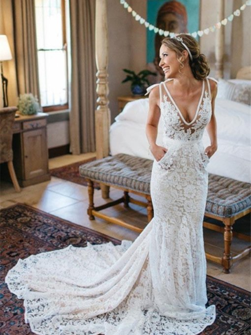 Deep V-Neck Mermaid Pockets Lace Wedding Dress