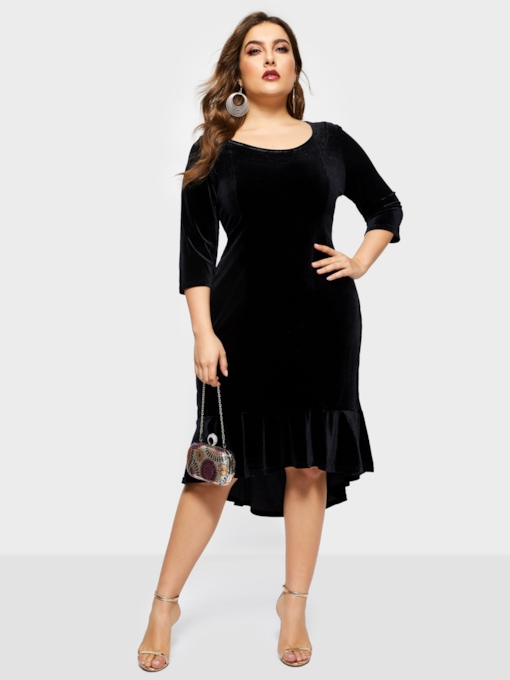 Asymmetric Plain 3/4 Length Sleeves Women's Day Dress