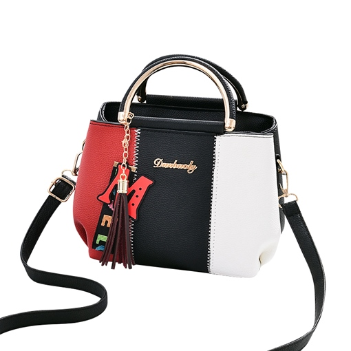 Spring Cute Patchwork Color Block PU Tote Bags