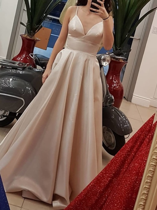 Strapless Floor-Length Sleeveless A-Line Evening Dress