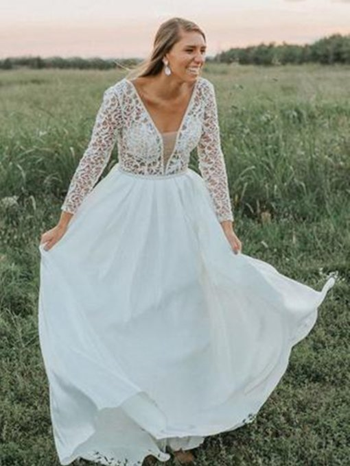 V-Neck Long Sleeves Lace Plus Size Wedding Dress