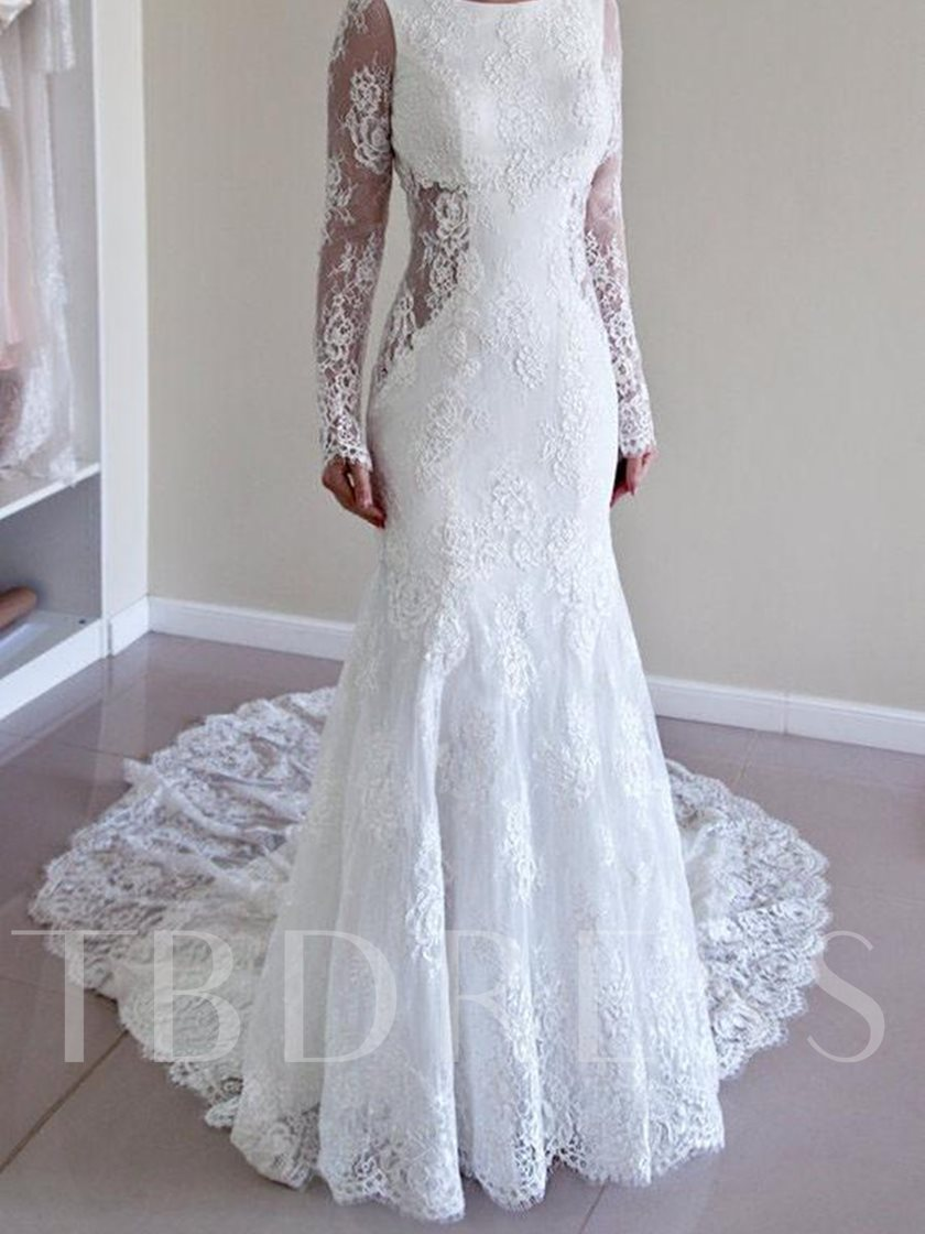 Long Sleeve Backless Mermaid Lace Wedding Dress 2019