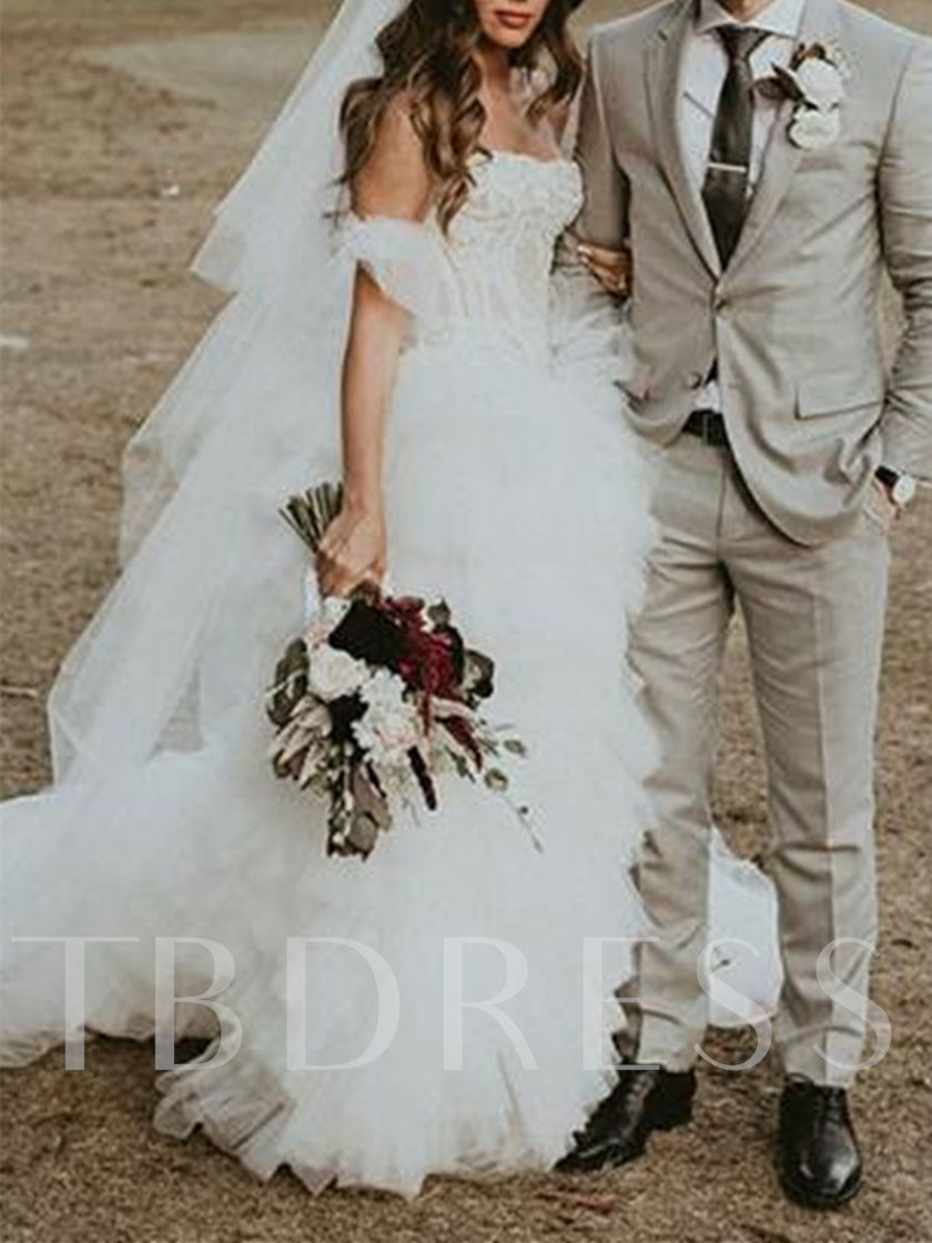 Strapless Tiered Lace Split-Front Wedding Dress