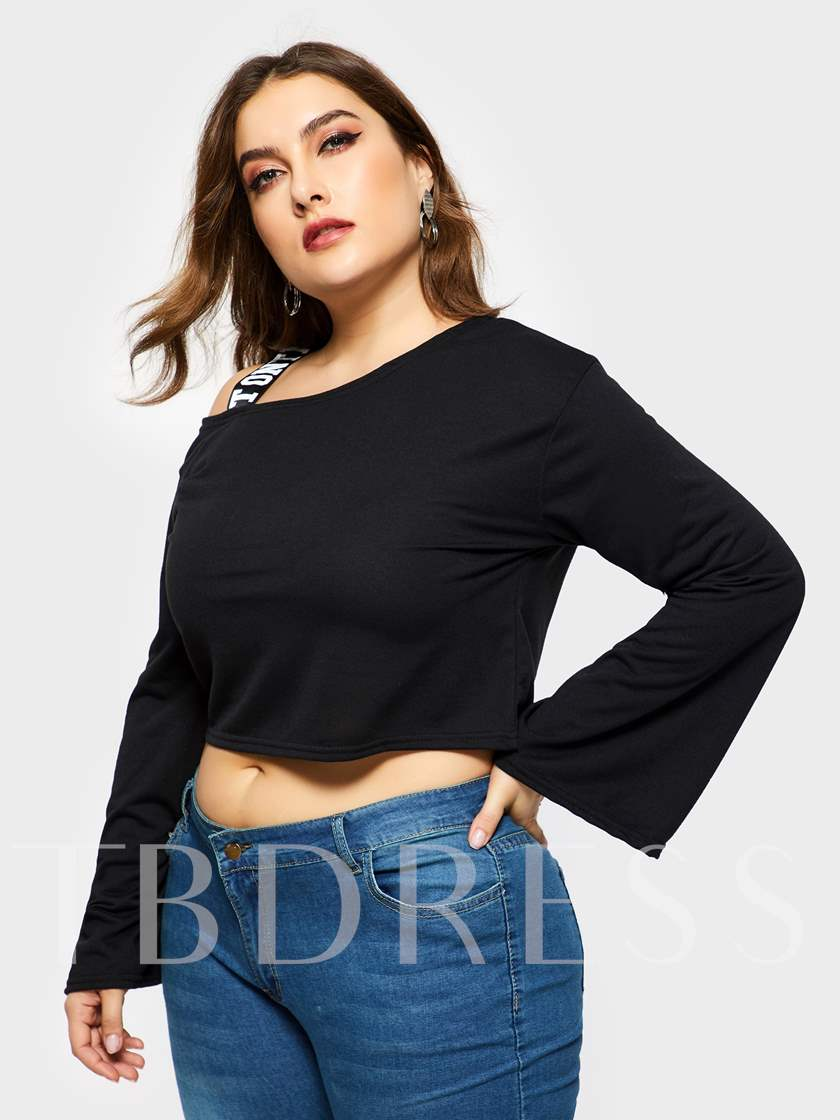 Oblique Collar Plain Plus Size Women's Cropped T-Shirt