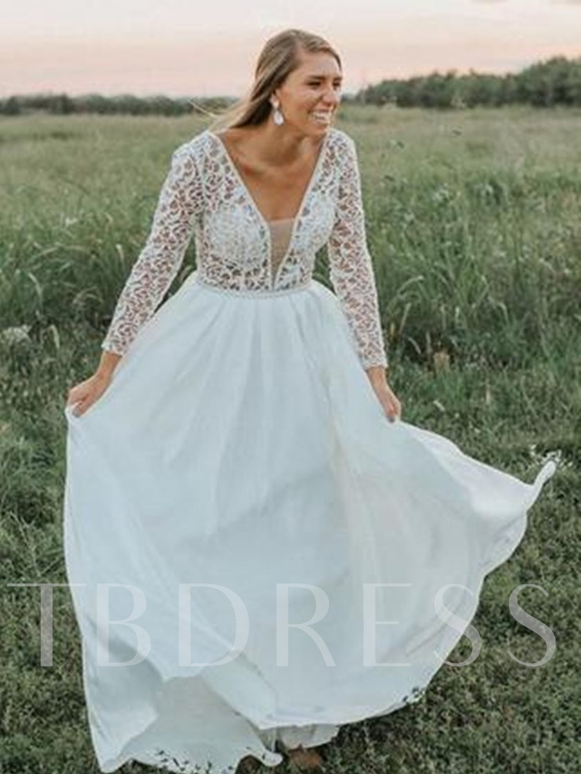 V-Neck Long Sleeves Lace Plus Size Wedding Dress - Tbdress.com