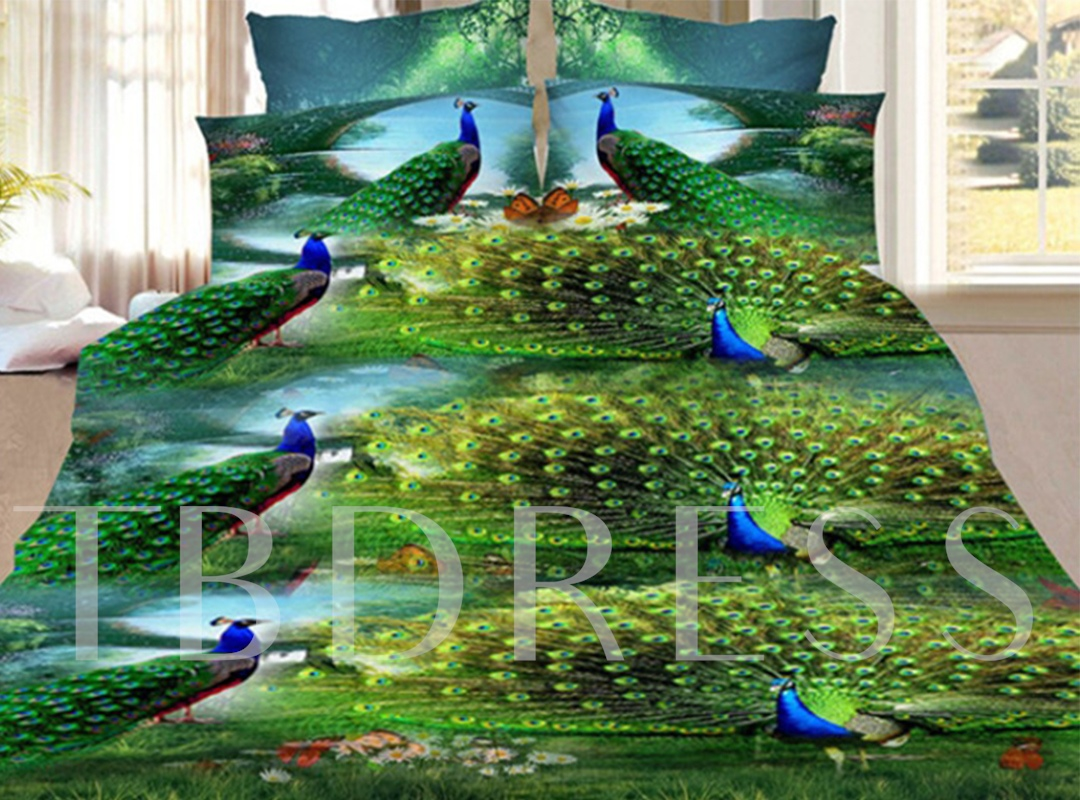 Green Peacock Print 4-Piece Polyester 3D Bedding Sets/ Duvet Covers