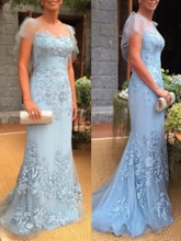 Cap Sleeves Appliques Sheath Mother of the Bride Dress 2019
