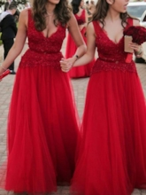 A-Line Beaded Sashes Appliques Red Bridesmaid Dress