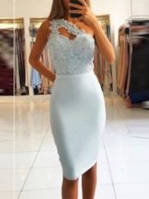 One Shoulder Sheath Sleeveless Appliques Cocktail Dress