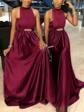 Halter Ruched Beading Bridesmaid Dress