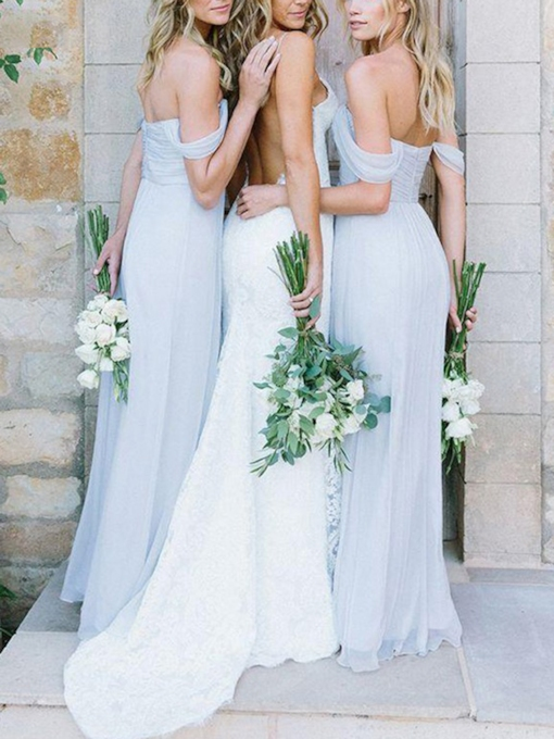 A-Line Off-The-Shoulder Pleats Bridesmaid Dress