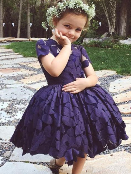 Cap Sleeves Lace A-Line Knee-Length Flower Girl Dress