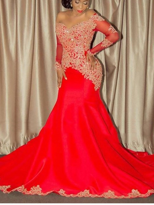 Long Sleeves Appliques Plus Size Evening Dress