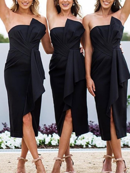Bowknot Tea-Length Strapless Bridesmaid Dress