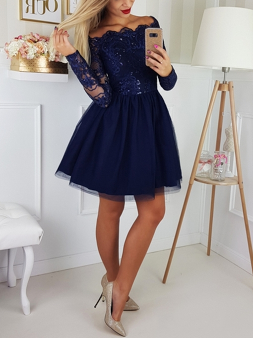 Short A-Line Long Sleeves Off-The-Shoulder Cocktail Dress