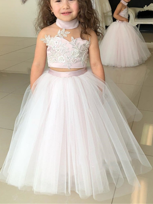 High Neck Appliques Two Pieces Flower Girl Dress