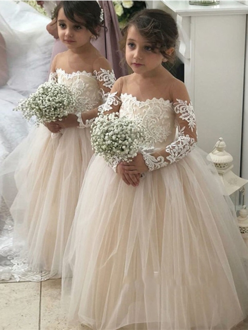 Sheer Neck A-Line Appliques Long Sleeve Flower Girl Dress
