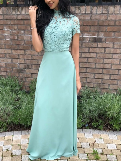 Short Sleeve High Neck Lace Bridesmaid Dress 2019
