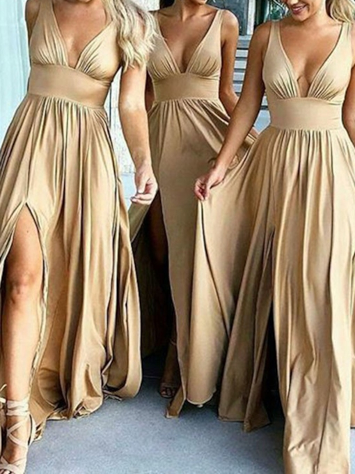 Deep V-Neck A-Line Split-Front Long Bridesmaid Dress