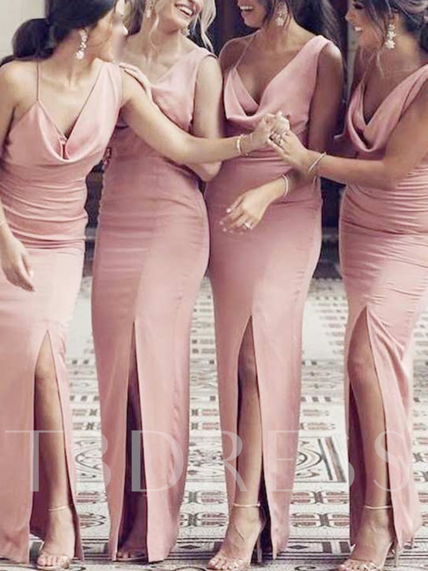 Sheath Split-Front Draped Straps Bridesmaid Dress