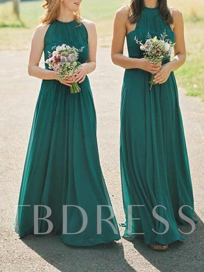 Halter A-Line Pleats Long Bridesmaid Dress