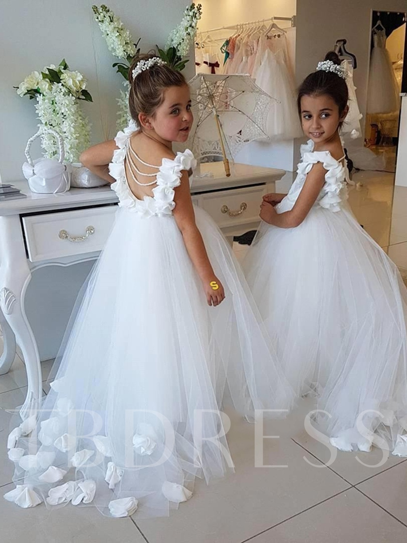 Scoop Neck A-Line Flowers Cap Sleeves Flower Girl Dress
