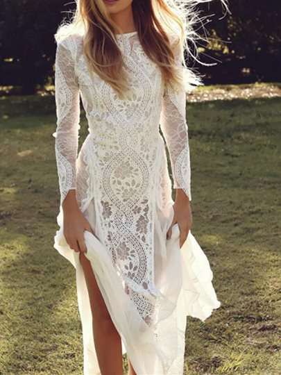 Sheath Backless Long Sleeves Lace Beach Wedding Dress Sheath Backless Long Sleeves Lace Beach Wedding Dress