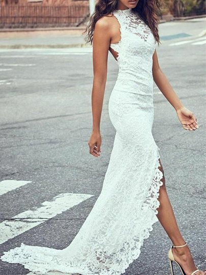 Mermaid Lace Backless Beach Wedding Dress Mermaid Lace Backless Beach Wedding Dress