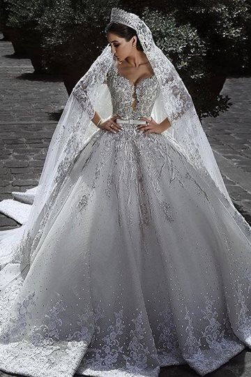 Long Sleeve Beading Appliques Ball Gown Luxurious Wedding Dress Long Sleeve Beading Appliques Ball Gown Luxurious Wedding Dress