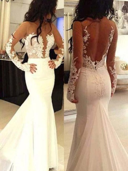 Backless Appliques Long Sleeves Mermaid Wedding Dress