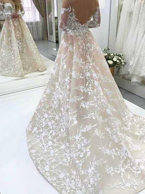 Bateau Neck Long Sleeve Appliques Wedding Dress 2019