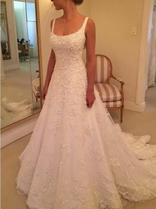 Square Neckline Appliques Button Wedding Dress